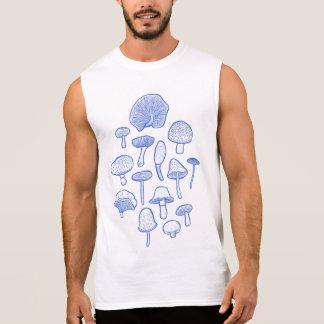 Hand Drawn Mushrooms Collage Sleeveless Shirt