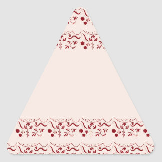 Hand drawn Ornaments Vintage RED Triangle Sticker