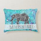 Hand drawn paisley boho elephant blue turquoise decorative cushion