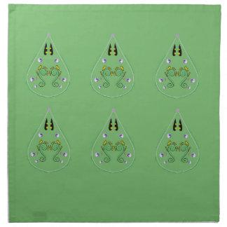HAND DRAWN Paisley Green. Original art Napkin