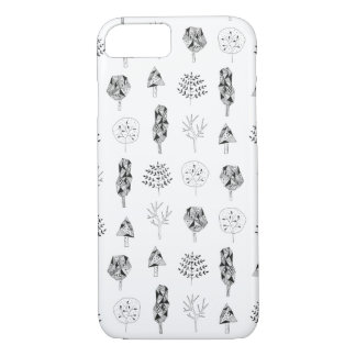 hand drawn pattern with cute trees iPhone 8/7 case