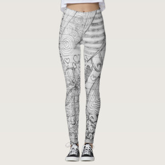 Hand Drawn Pencil Doodle Art on Lined Paper Leggings