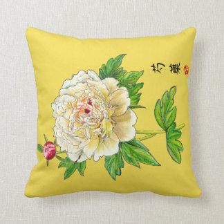 Hand Drawn Peony Print Cushion