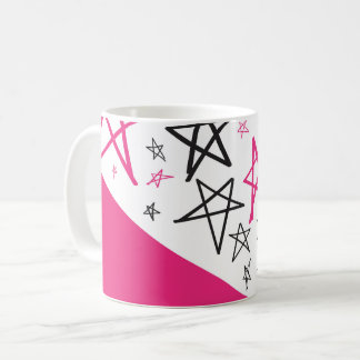 Hand Drawn Pink and Black Stars Coffee Mug