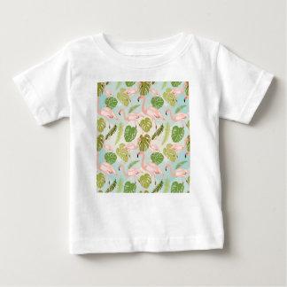 Hand drawn pink flamingo and monstera leaves. Seam Baby T-Shirt