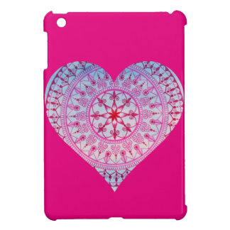Hand Drawn Pink Mandala Heart iPad Mini Covers