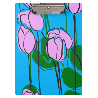 Hand Drawn Pink Tulips on Sky Blue Clipboard