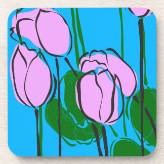 Hand Drawn Pink Tulips on Sky Blue Coaster
