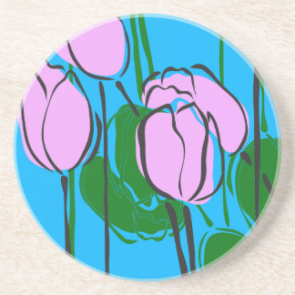 Hand Drawn Pink Tulips on Sky Blue Coasters
