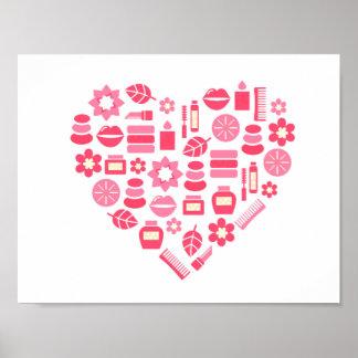 Hand drawn pink wellness heart poster