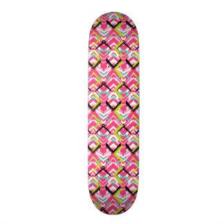 Hand Drawn Pink Zig Zag Pattern Skateboard