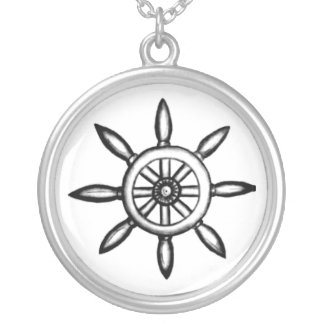 Hand-drawn Pirate Ship Wheel Necklace