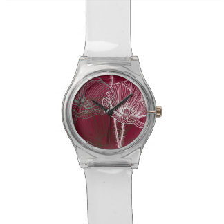 Hand Drawn Poppies on Red Watches