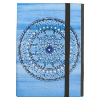 Hand Drawn Pretty Blue And White Mandala Flower Cover For iPad Air