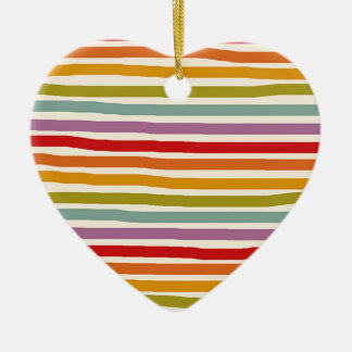 Hand Drawn Rainbow Ceramic Heart Decoration