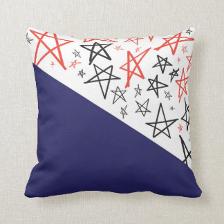 Hand Drawn Red White and Blue Pillow