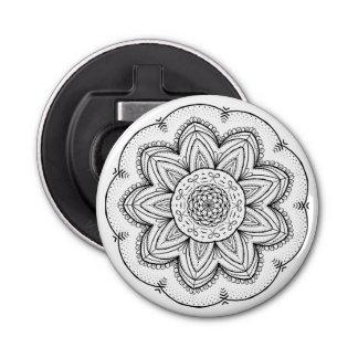 Hand Drawn Ribbon Mandala - Black & White Round Bottle Opener
