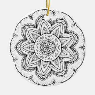 Hand Drawn Ribbon Mandala - Black & White Round Ceramic Ornament