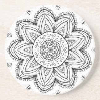 Hand Drawn Ribbon Mandala - Black & White Round Coaster