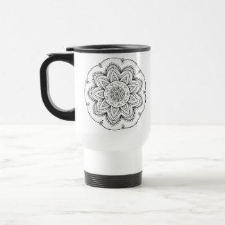 Hand Drawn Ribbon Mandala - Black & White Round Travel Mug