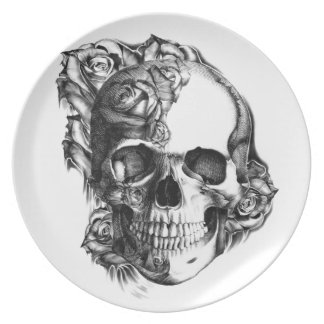 Hand drawn rose skull in black and white. plates