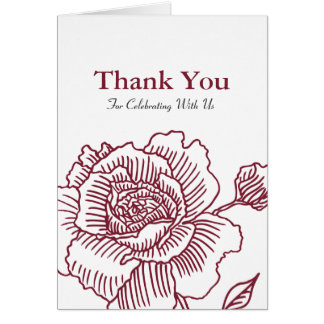 Hand drawn rose THANK YOU card red