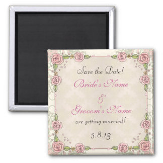 Hand Drawn Roses Pink Wedding Save the Date Square Magnet