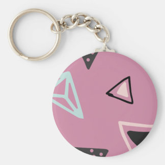 Hand Drawn Shapes Pattern (Customizeable Color!) Basic Round Button Key Ring