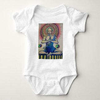 Hand drawn sitting monk Buddha in prayer Baby Bodysuit
