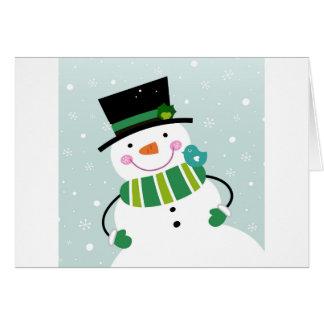 Hand-drawn Snowman green white Card