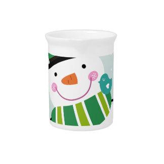 Hand-drawn Snowman green white Pitcher