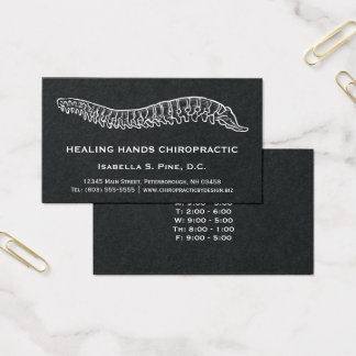 Hand Drawn Spine Logo Office Hours Chiropractor Business Card