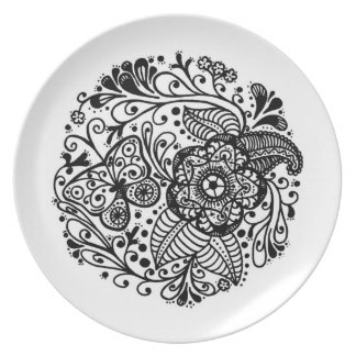 Hand drawn springtime butterfly paisley doodle plate