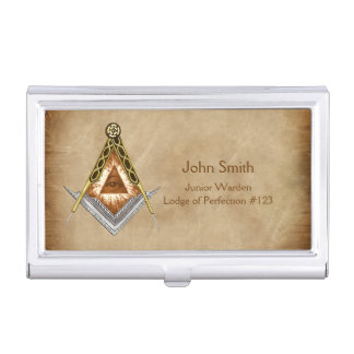Hand Drawn Square and Compass With All Seeing Eye Business Card Holder