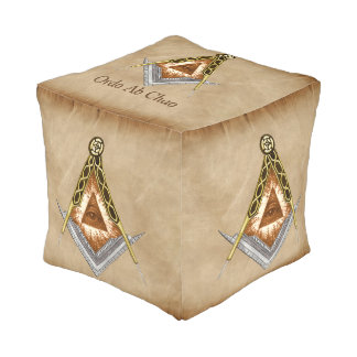 Hand Drawn Square and Compass With All Seeing Eye Pouf