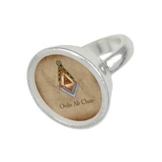 Hand Drawn Square and Compass With All Seeing Eye Ring