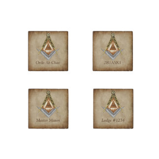 Hand Drawn Square and Compass With All Seeing Eye Stone Magnet