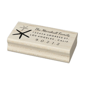Hand-Drawn Star Fish Rubber Return Address Stamp