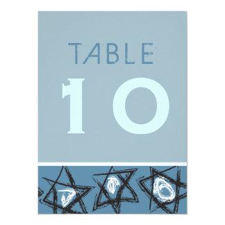 HAND-DRAWN STARS Bar Bat Mitzvah Table Number Card 14 Cm X 19 Cm Invitation Card