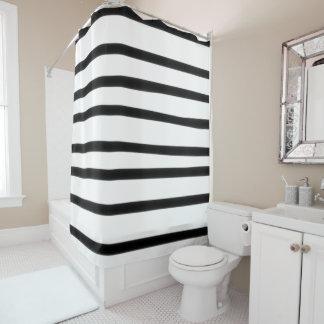 Hand Drawn Stripe Black White Funky Geometric Art Shower Curtain