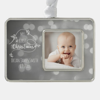 Hand Drawn Style First Christmas Photo Silver Plated Framed Ornament