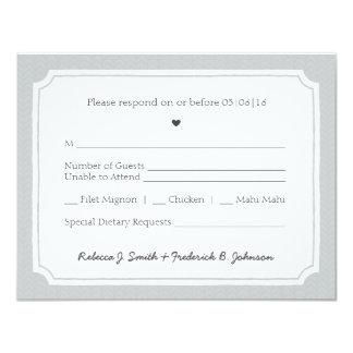 Hand-drawn style grey & white RSVP 11 Cm X 14 Cm Invitation Card