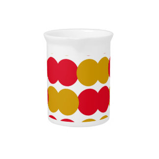 Hand drawn Stylish Polka dots : RED, GOLD Pitcher