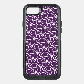 Hand Drawn Swirly Pattern on Dark Plum Color OtterBox Commuter iPhone 8/7 Case