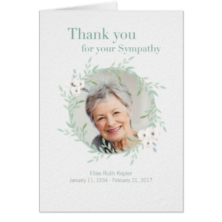 Hand drawn Sympathy Memorial Thank You with Photo Card