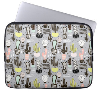 Hand Drawn Textured Cactus Pattern Laptop Sleeve