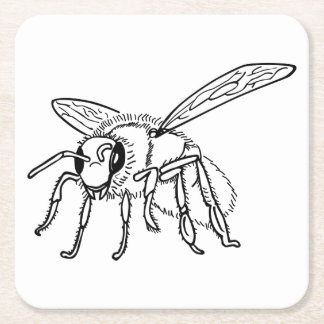 Hand Drawn To Bee Square Paper Coaster
