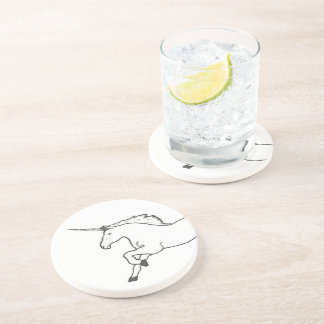 Hand Drawn Unicorn Beverage Coasters