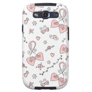 Hand drawn Valentine pattern with hearts Samsung S Samsung Galaxy SIII Covers