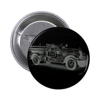hand drawn vintage fire truck inverse 6 cm round badge